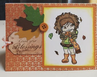 Simply Betty Fall Leaves Thanksgiving Card Stamped Cricut