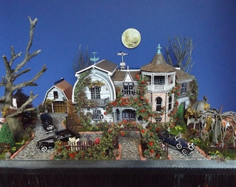 Made-to-Order Munster House Furnished Dollhouse on a Property HO scale