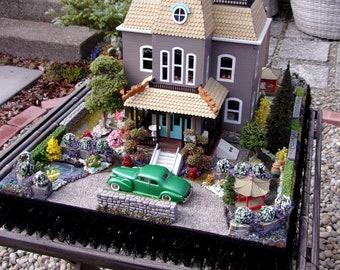 SALE! BATES MANSION Dollhouse Miniature (Psycho House) Quarter Inch 1/4 1:48 Scale, Lavishly Finished, Furnished and Landscaped Dollhouse