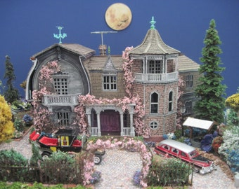 Contact Us Before Purchasing - Made-to-Order Munster House Furnished Dollhouse on a Property HO scale