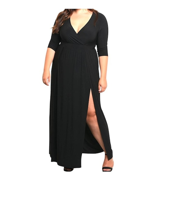 Plus Size Wrap Top Double Slit Jersey Maxi Dress