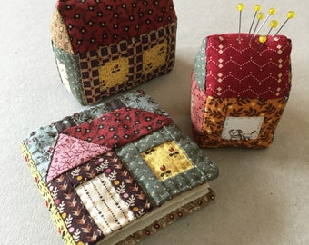 ENGLISH PDF pattern for Little House Needle Book and Pincushion (hand piecing)