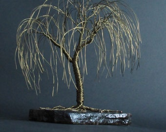 Bronze Willow Tree Sculpture | Anniversary Gift Idea | Wire Tree Sculpture | Bronze Anniversary Gift | Living Room Decor | Bronze Art