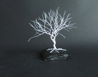 Winter White Twisted Tree Sculpture | Handmade with White Wire | Birthday Gift Idea | Anniversary Gift