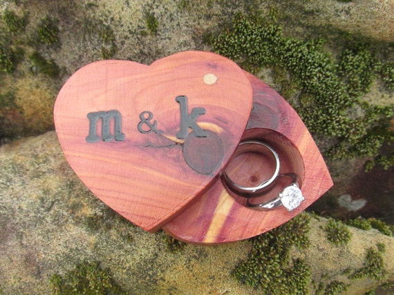 Heart Ring Box | Cedar Ring Box | Ring Box Proposa | Ring Box Ring Bearer| Unique Ring Box