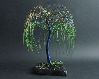 Peacock Willow Tree Sculpture | Peacock Decor | Anniversary Gift Idea | Wire Tree Sculpture | Birthday Gift | Living Room Decor | Art