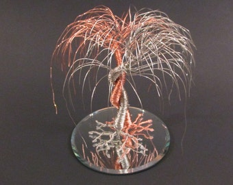 """Silver & Copper Wedding Cake Topper """"The Embrace"""" ~ Tree Wedding Cake Topper"""