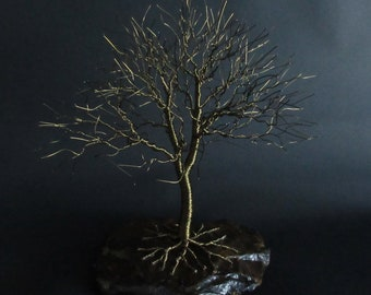 Oak Wire Tree Sculpture | 8th Anniversary Gift Idea | Bronze Anniversary Gift |  Bronze Art | Bronze Birthday Gift Idea | Christmas Gift