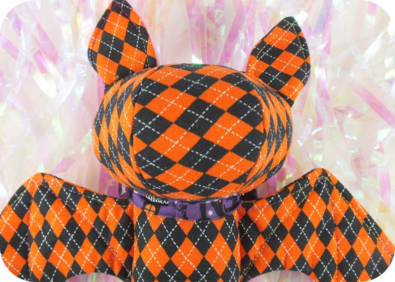Mini Bat Plush Orange /& Black Checkerboard