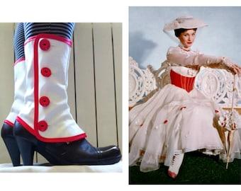 Mary Poppins Medium white spats waterproof cosplay Gaiters
