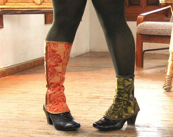 SALE steampunk Short Spats Waterproof victorian Gaiters Boot Women costume one size spat damask brocade