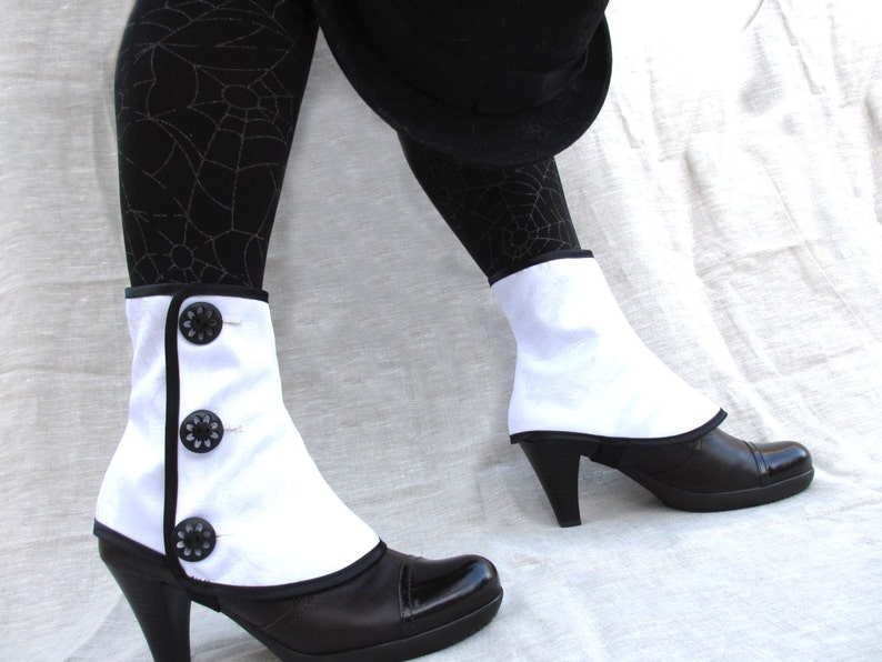 Spats, Gaiters, Puttees – Vintage Shoes Covers BLACK FRIDAY SALE Low spats waterproof with buttons victorian steampunk Gaiters bootcover $23.85 AT vintagedancer.com