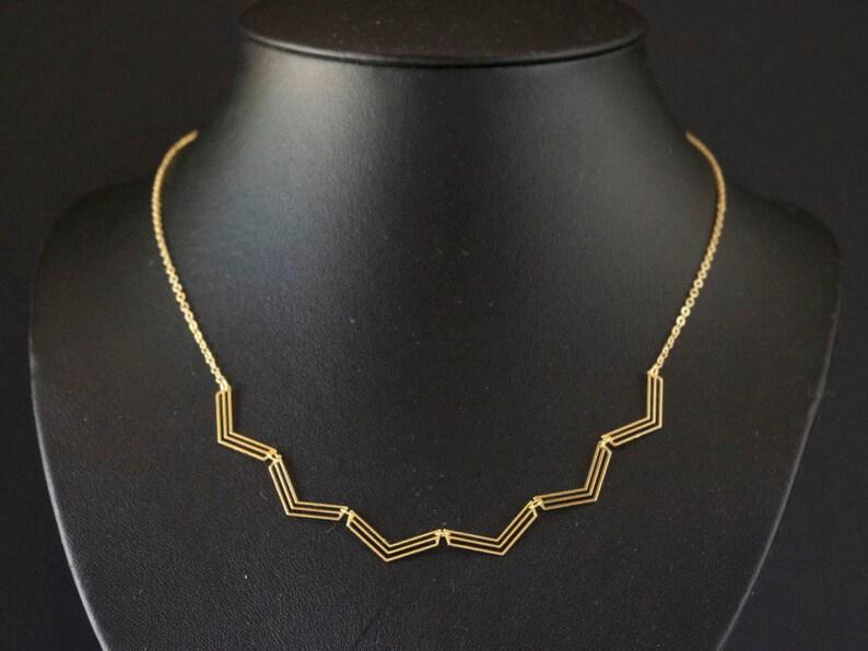 Collier Chevrons doré à l'or fin image 0