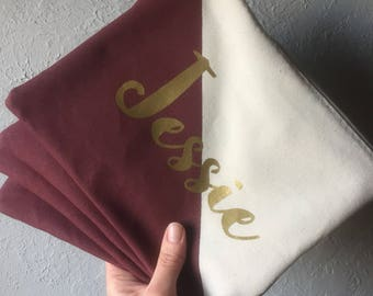 Personalized name color block BRIDESMAID Zipper Pouch Clutch Make up bag diaper bag accessory Custom colors BURGUNDY maroon blush gold