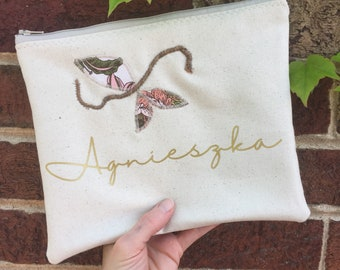 Personalized floral vine BRIDESMAID Zipper Pouch Clutch Make up bag diaper bag accessory canvas burgundy blush gold