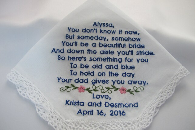 Wedding Handkerchief Embroidered for the Flower Girl