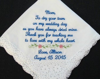 Embroidered Wedding handkerchief for the Mother of the Bride