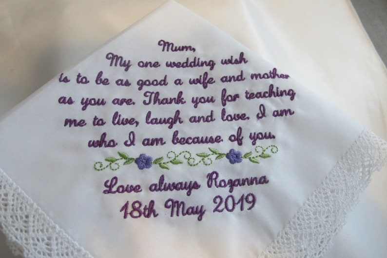 Mother of the Bride Personalized Wedding Handkerchief