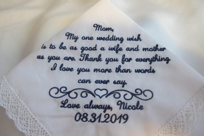 Mother of the Bride Wedding Handkerchief
