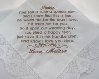 Embroidered Wedding Handkerchief for Mother of the Groom
