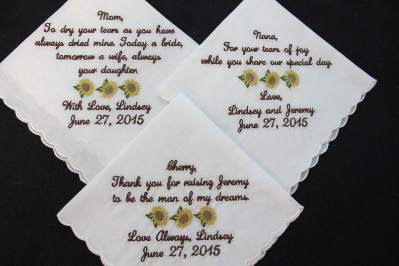 Scalloped Style Custom Embroidered Wedding Handkerchief for Mother of the Bride and Grandmother of the Bride Mother of the Groom