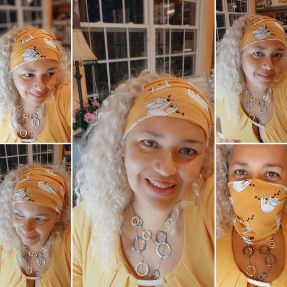 Boho Bandeau / Sloth Headband / Yoga Headband / Face Mask / Yellow Headband