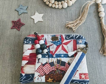 Patriotic Wristlet Bag / Make up Bag / Pouch