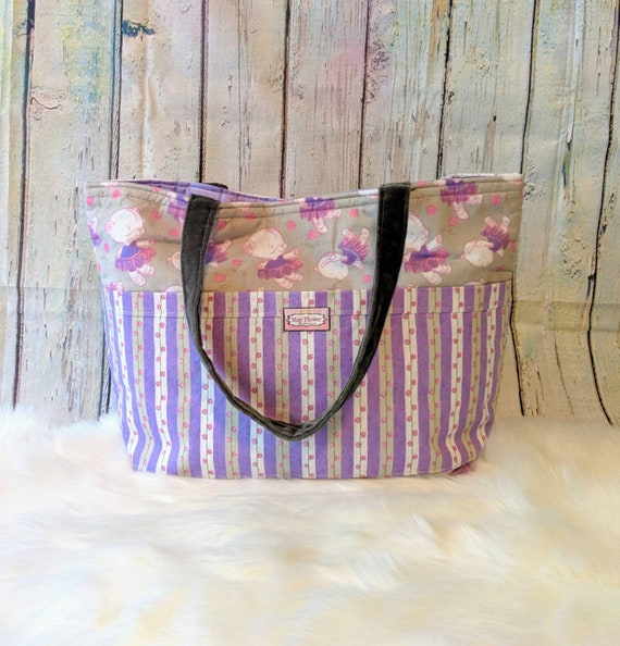 Baby Bear Diaper Bag / Baby Shower / Custom Made Baby Bear Bag / Large Diaper Bag / Baby Girl Ballerina Bag