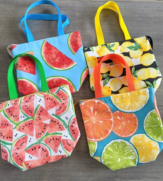 Insulated Lunch Bag / Orange Lemon watermelon Insulated Lunch Bag / Lunch Bag / Large Lunch Bag