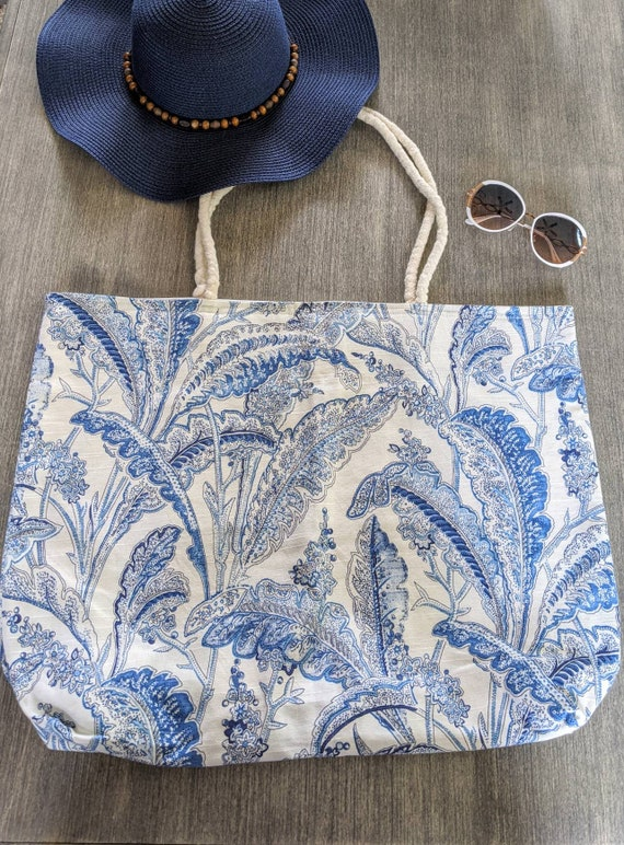 Blue Leaves large Beach Tote Bag / Beach Bag/ Summer Tote Bag