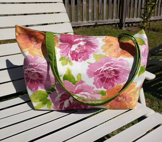 Floral Beach Bag / Large Beach Bag / Overnight Bag / Beach Tote