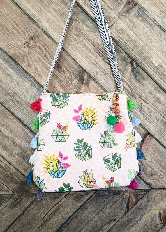 Boho Shoulder Bag / Succulents Bag