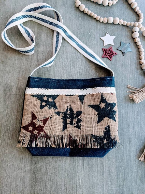 Denim American Bag / Patriotic Crossbody Bag/