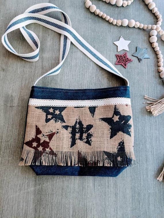 Denim American Bag / Patriotic Crossbody Bag/