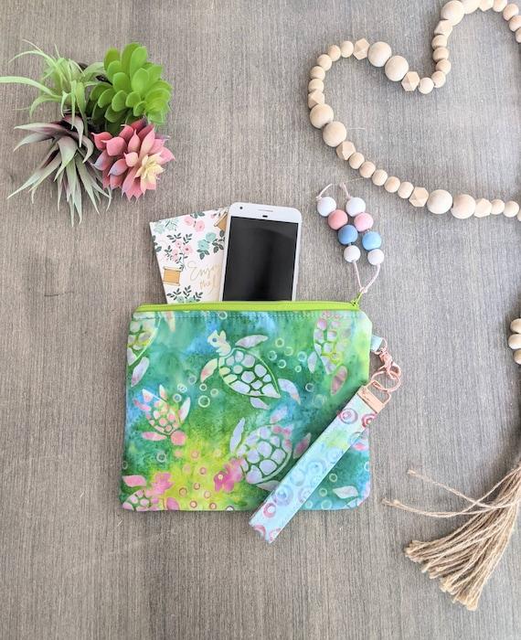 Sea Turtle Wristlet Bag, Makeup Bag, Turtle Clutch, Pouch
