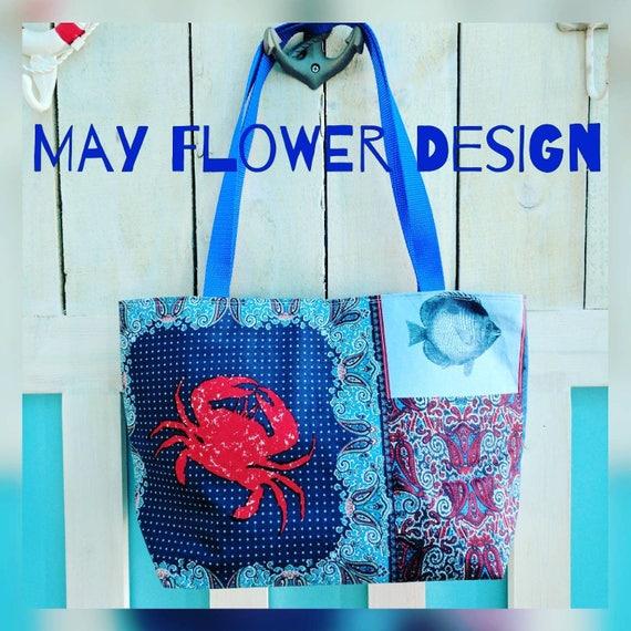 Sea Themed Tote Bag / Summer Bag / Costal Tote / Crab / Bags and Totes /  Sea Tote Bag / Fish Bag