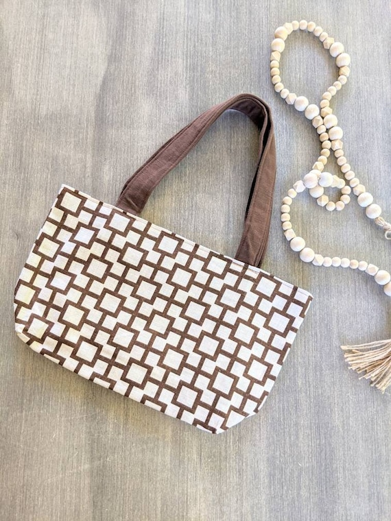 Brown Geometric Pattern Bag / Tote Bag / Purse