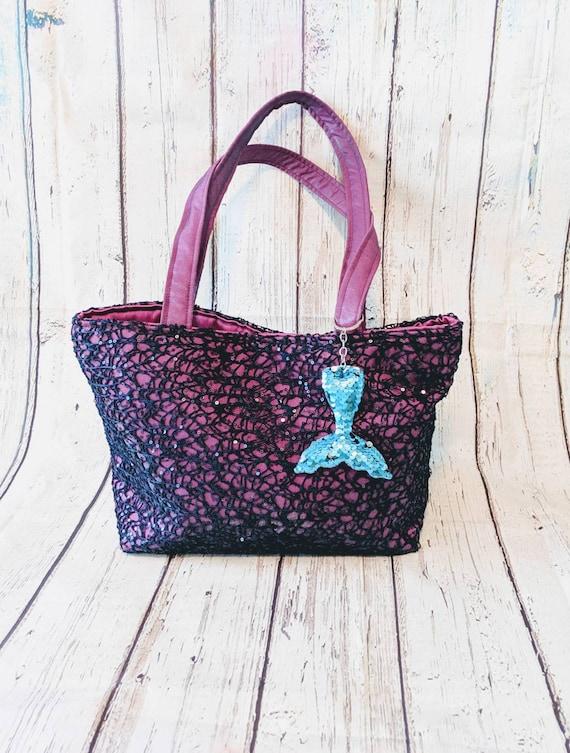 Mermaid Purple Lace Bag / Mermaid  Tote Bag / Custom Made Handmade Bag