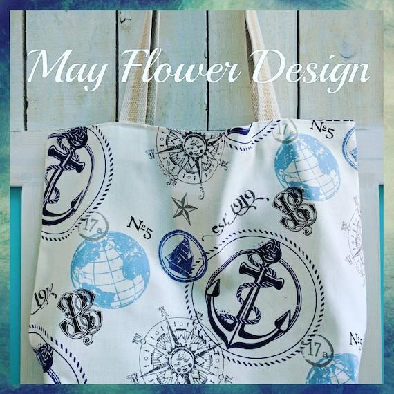 Sailor Beach Bag / Overnight Bag / Nautical Tote Bag / Extra Large Anchor Tote Bag