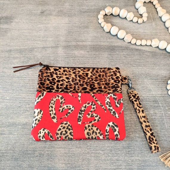 Cheetah Clutch / Leopard Wristlet Bag / Pouch