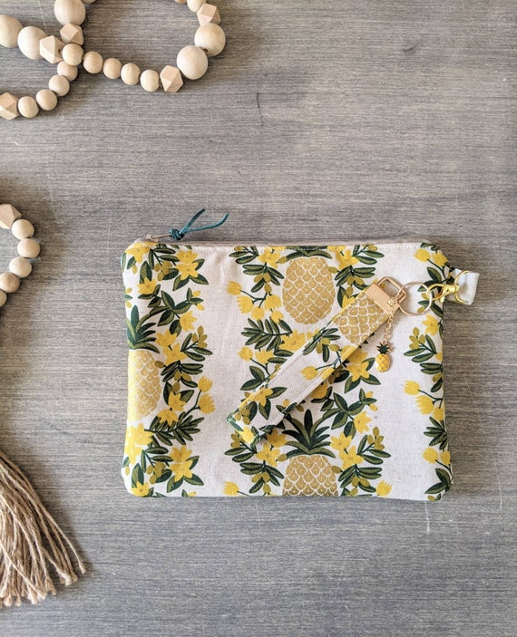 Pineapple Wristlet Bag / Clutch / Makeup Bag