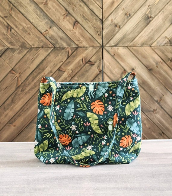 Green leaf corduroy shoulder bag