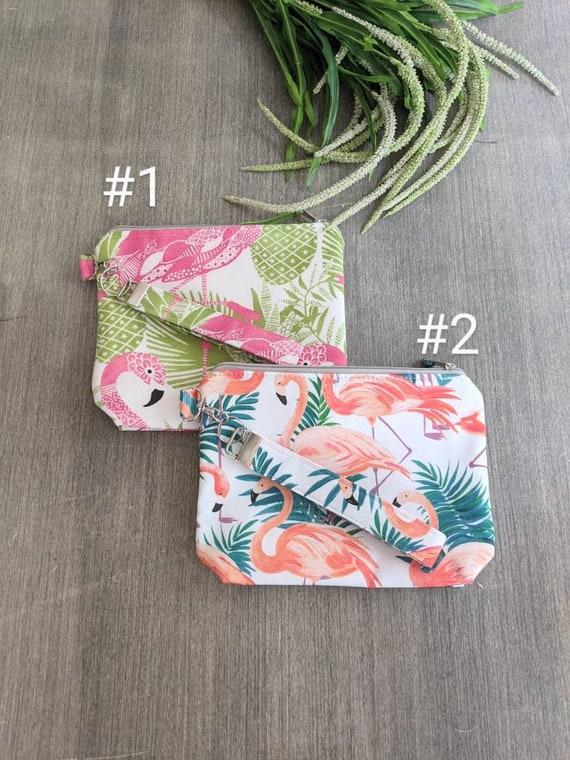 Flamingo Wristlet Bag / Clutch / Wet bag