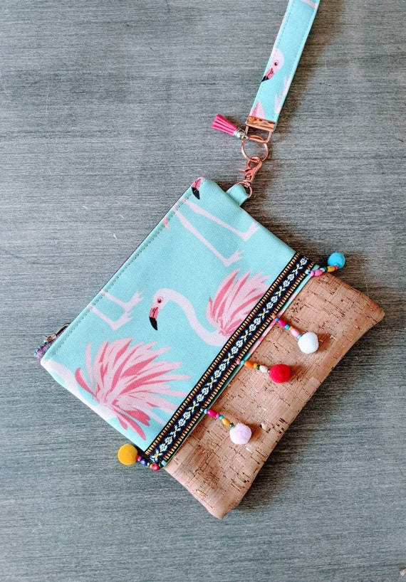 Cork Flamingo Wristlet Bag