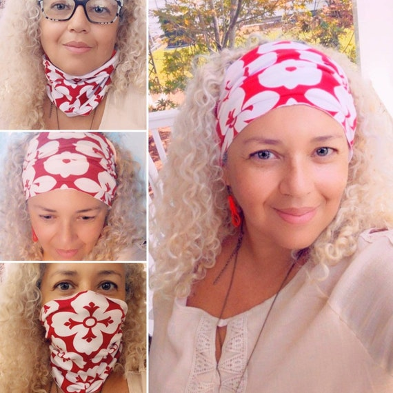 Boho Bandeau / Yoga Headband / Red Floral Headband / Workout Headband / Face mask