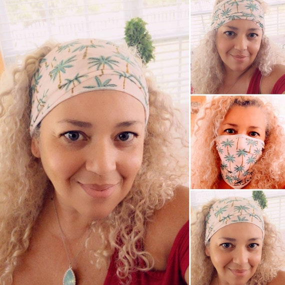 Boho Bandeau Headband / Palm Trees Bandeau Headband / Face Cover