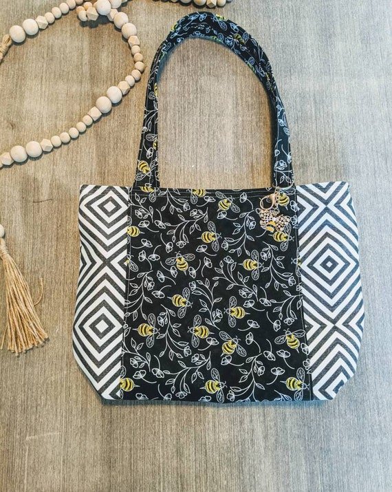 Black and white Bee Bag / Large Bee Tote Bag