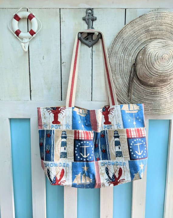 Lighthouse Coastal Beach bag / Nautical Tote
