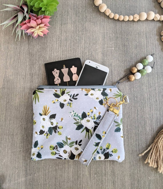 Flowers and Bee Wristlet Bag