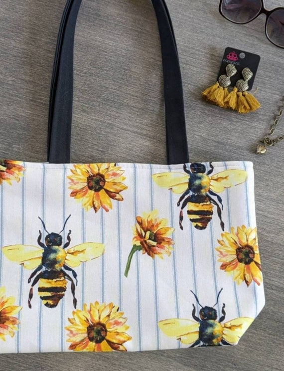 Sunflower Bee Tote Bag
